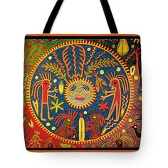 Huichol inspired Southwest Shaman dream tribal design printed on 100% cotton throw pillow, or tote bag printed on sturdy, durable poly-poplin material.  This design is inspired by ancient Shaman crop fertility rituals. The Huichol yarn painting visualizes the hallucinations of the Shaman.  Beautiful folk art design.  Great for diaper bags, laptop bags, grocery bags, exercise clothes bag, school book bag.    Printed Shaman spirits design - Choose the same design printed on a tote bag, or  a…