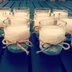 Votive candle holder with lace fabric (johanns) and twine Set of 2 Votive Candles - Wrapped w/ Lace & Rustic Twine. $7.00, via Etsy.