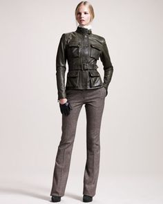 Belstaff Triumph Waxed Leather Jacket, Ascot Georgette Blouse & Derby Stretch-Tweed Trousers - Neiman Marcus