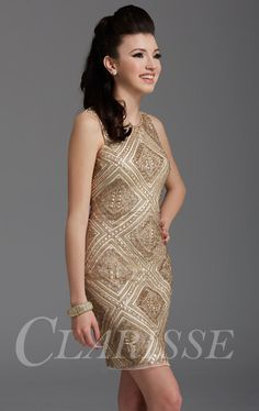 10fa5b36abf Clarisse 2928 is a gold embellished party dress that s ready to stand out  at Homecoming!