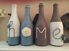 Wine bottle decor rustic home farmhouse country wedding Empty Wine Bottles, Wine Bottle Art, Diy Bottle, Yarn Bottles, Twine Wine Bottles, Glass Bottles, Beer Bottle, Twine Wrapped Bottles, Glass Bottle Crafts