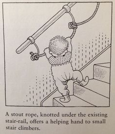 Stair toddler safety - so clever/ interesting to add rope to the railing to help little ones learn to climb the stairs safely!: