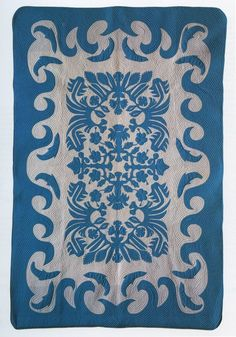 "Hawaiian quilt, R. John Howe textiles. ""Echo quilting"" consisted of successive rows of stitches, which paralleled the edges of the appliqued design, resembling ocean waves."