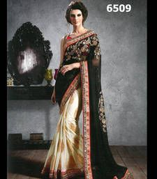 Buy Black, Cream embroidered georgette saree with blouse party-wear-saree online