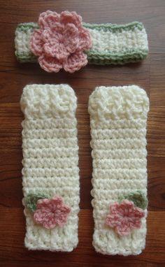 Crocheted Baby Girl Flowered Headband & by KaraAndMollysKids, $29.00