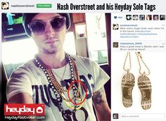 Check out Hot Chelle Rae guitarist and Heyday Brand Ambassador, Nash Overstreet in his Heyday Sole Tags jewelry.  Get your own Sterling Silver Heyday Sole Tags starting at $75 only at HeydayFootwear.com