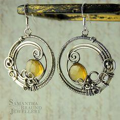 AAA Cognac Quartz Art Nouveau Earrings by Samantha Braund