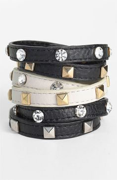 Cara Accessories Leather Wrap Bracelet | Nordstrom