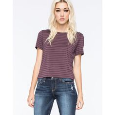 Full Tilt Striped Womens Fitted Tee ($15) ❤ liked on Polyvore featuring tops, t-shirts, plum, crewneck t-shirt, striped t shirt, striped top, short sleeve tops and crew neck tee