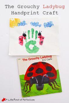 The Grouchy Ladybug Handprint Craft- (Bugs, Spring or Summer, Friendship, Eric Carle)