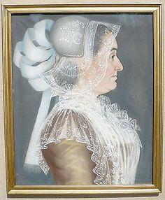 "Biedermeier - Pastellbild ""Edle Dame mit Spitzenhaube"""