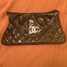 Black patent leather clutch Black patent leather clutch faux Chanel with Chanel printed lining and tag, inside pocket and magnetic closure. Perfect condition. Faux envelope with cards and mini how to care for your bag booklet came with it. Great replica. Bags Clutches & Wristlets