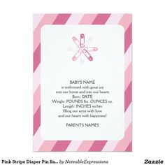 Shop Pink Stripe Diaper Pin Baby Announcement created by NoteableExpressions. Unique Baby Announcement, Baby Girl Birth Announcement, Pink Stripes, Baby Names, Smudging, Paper Texture, New Baby Products, Joy, Feelings