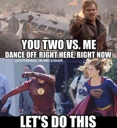 Yo, Team Flash/Supergirl over here. I mean, we all saw those mad tap dancing skills on that crossover. Me Dance off right here, right now Flash and Supergirl: Lets do this Flash: *dabs* Supergirl: dramatic cape flip* Marvel Jokes, Marvel Vs, Marvel Funny, Superhero Shows, Superhero Memes, Arrow Flash, The Flashpoint, Flash Funny, Flash Barry Allen
