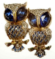 "These Coro Owls are detachable ""Duettes"" on a frame. My grandmother had one of these owls that I am lucky enough to have.    Glory Jewelry Designs: VINTAGE - Coro"
