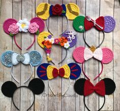 Crochet Headband Crochet Princess Mouse Ears/ One size/ Crochet/Made to Order Disney Crochet Patterns, Crochet Disney, Crochet Mouse, Crochet Gifts, Crochet Bookmark Pattern, Crochet Headband Pattern, Crochet Bookmarks, Crochet Headbands, Crochet Character Hats