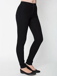 American Apparel Easy Jean M Gray | This slim, high-waist jean constructed from soft, stretch denim molds to the shape of your body for a super flattering fit.