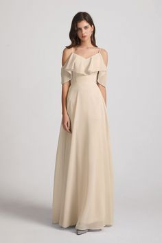 This cold-shoulder ruffles chiffon bridesmaid dress deserves a special place among your bridesmaids' squad. #bridesmaiddresses #chiffonbridesmaiddress Flowy Bridesmaid Dresses, Inexpensive Bridesmaid Dresses, Bridesmaids, Wedding Dresses, Chiffon Ruffle, Floral Chiffon, Ruffles, Bridesmaid Inspiration, Different Fabrics