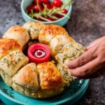 cheesy garlic and herb pull apart bread pulled out