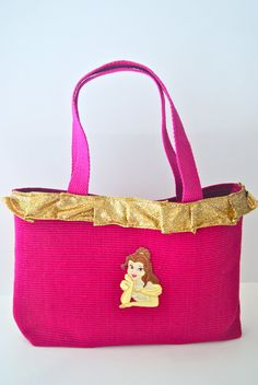 Belle Inspired Tote Bag with Gold Shimmer Ruffle by tavatotes, $25.00