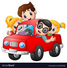 Happy family travelling with car vector image on VectorStock Car Vector, Kids Vector, Vector Free, Earth Drawings, Pencil Art Drawings, Cartoon School Bus, Cars Preschool, Classroom Schedule Cards, Learn To Sketch