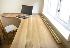 Curved Home office desk in solid Oak