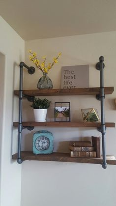 Add an industrial touch to your home decor with our industrial pipe shelves! This piece is solid and is built to last! Made from real 3/4 iron pipe. Solid wood plank shelves that measure 2thick × 36 long. You choose your shelf depth. The wood is distressed and stained to give it that beautiful reclaimed wood look. The pipe is cleaned and sealed, your choice of Soft Iron Gray or Flat Black. You choose your stain color. Choose from either my special stain mix (pictured) or any Minwax stain...
