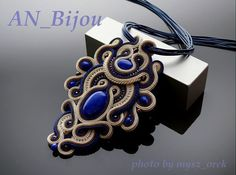 Sapphire blue brown ecru pendant Soutache. by ANBijou on Etsy