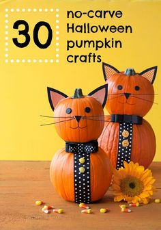 30 of our favorite no-carve Halloween pumpkin crafts. Easy and affordable! Great ideas!