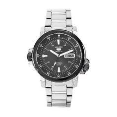 Seiko Men's SNZJ59 Seiko 5 Stainless Steel Black Dial Watch: Watches: Amazon.com