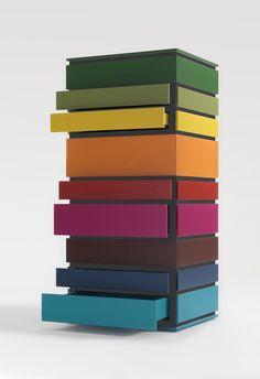 """Nine"" chest of drawers, design Alessandro Dubini for Lema."