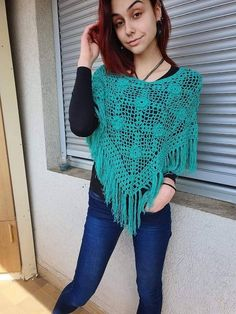 Crochet teal poncho Poncho with fringe Boho Turquoise fringed poncho Woman top Summer cover up Knit poncho Blue crochet poncho Summer poncho Crochet Fringe, Crochet Blouse, Crochet Poncho, Knit Crochet, Hairpin Lace, Crochet Capas, Bridal Cover Up, Fingerless Mittens, Festival Outfits