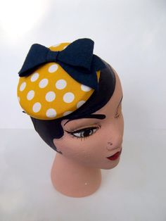 Yellow Polka Dot Button Cocktail Hat With Navy Bow by ChefBizzaro, $60.00