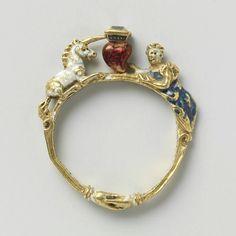 Southern German renaissance Ring with Lady and Unicorn - Ring met dame met de eenhoorn, anonymous, c. Cute Jewelry, Gold Jewelry, Jewelry Rings, Jewelry Box, Jewelery, Jewelry Accessories, Jewelry Design, Tiffany Jewelry, Black Jewelry
