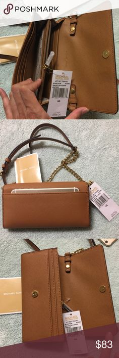 Brand new Michael Kors crossbody leather wallet Brand new. Never used. Never worn. In a perfect condition. Size is 8x4.5 x1.5. Will fit an iPhone 6 plus easily. The color is acorn on the tag. The strap is adjustable and detachable. Tag price is $168. The price is firm. Please don't waste your time bargaining. 100% soft safiano cow leather. Michael Kors Bags Crossbody Bags