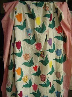 vintage tulip hand stitched quilt top