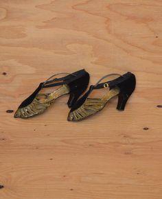 Amazing Black Velvet 20's Gold Braided Peep Toe Pumps Not Wearable Killer Sculpture Piece 6.5