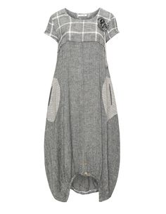 zedd plus Linen cotton summer dress in Anthracite / Cream