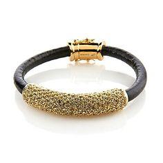 "Shop ""Edgy Glamour"" Pavé Bar Leather Bracelet at HSN mobile"