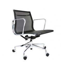 Eames Style EA117 Low Back Mesh Leather Office Chair - Black