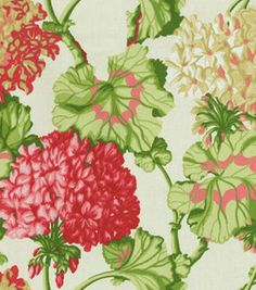 Reminds me of the Grand Hotel in Mackinac Island, MI. Home Decor Print Fabric- Waverly Geranium Exhibit/Watermelon : home decor print fabric Vintage Fabrics, Vintage Walls, Fabric Websites, Chintz Fabric, Waverly Fabric, Red Geraniums, Contemporary Cottage, Luxury Vinyl Plank, Cottage Interiors