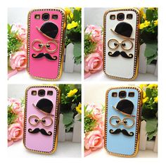 Selectable 3D Mustache Chaplin Cystal Leather for Samsung i9300 Galaxy S3 Case #DIY