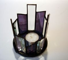 purple stained glass. reminds of my grandparents home.