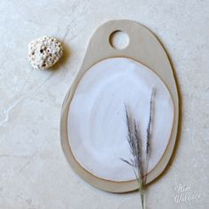 Ebb Tide Collection ~ large cheese board in white on natural