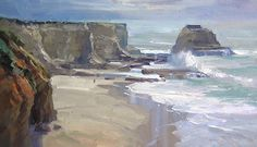 """Panther Bay by Richard Robinson Oil ~ 14"""" x 25"""""""