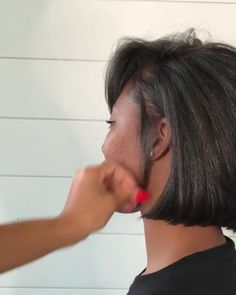 Stole this from the Exchange Studio in Flushing, love the color! Natural Hair Bob, Pressed Natural Hair, Natural Hair Short Cuts, Short Hair Cuts, Natural Hair Styles, Natural Hair Blowout, Pixie Cuts, Short Bob Hairstyles, Braided Hairstyles