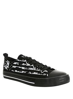 Americana Skull Lace-Up Sneakers, BLACK, hi-res