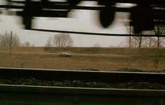 """""""A Brief story about Killing"""". El tren que pasa como símbolo de la existencia es captado desde una toma inferior; desde los rieles de la vía..."""