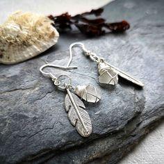 Boho Feather and Seaglass Earrings Glass Earrings, Sea Glass Jewelry, Drop Earrings, Bohemian Style Clothing, Boho Style, Jewellery Box, Jewlery, Irish Jewelry, Beach Accessories