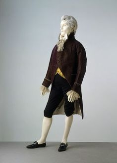 1800-1810 Court dress for men in the early 19th century retained many features of 18th-century dress. These included breeches, a waistcoat with short skirts, and a coat with curving back fronts. The dark, figured velvet continues a fashion in evening dress that began in the 1790s.
